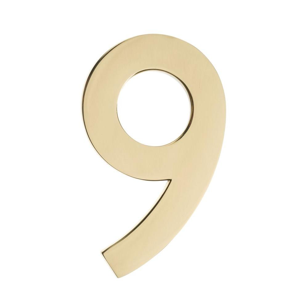 4 In. Polished Brass Floating House Number 9