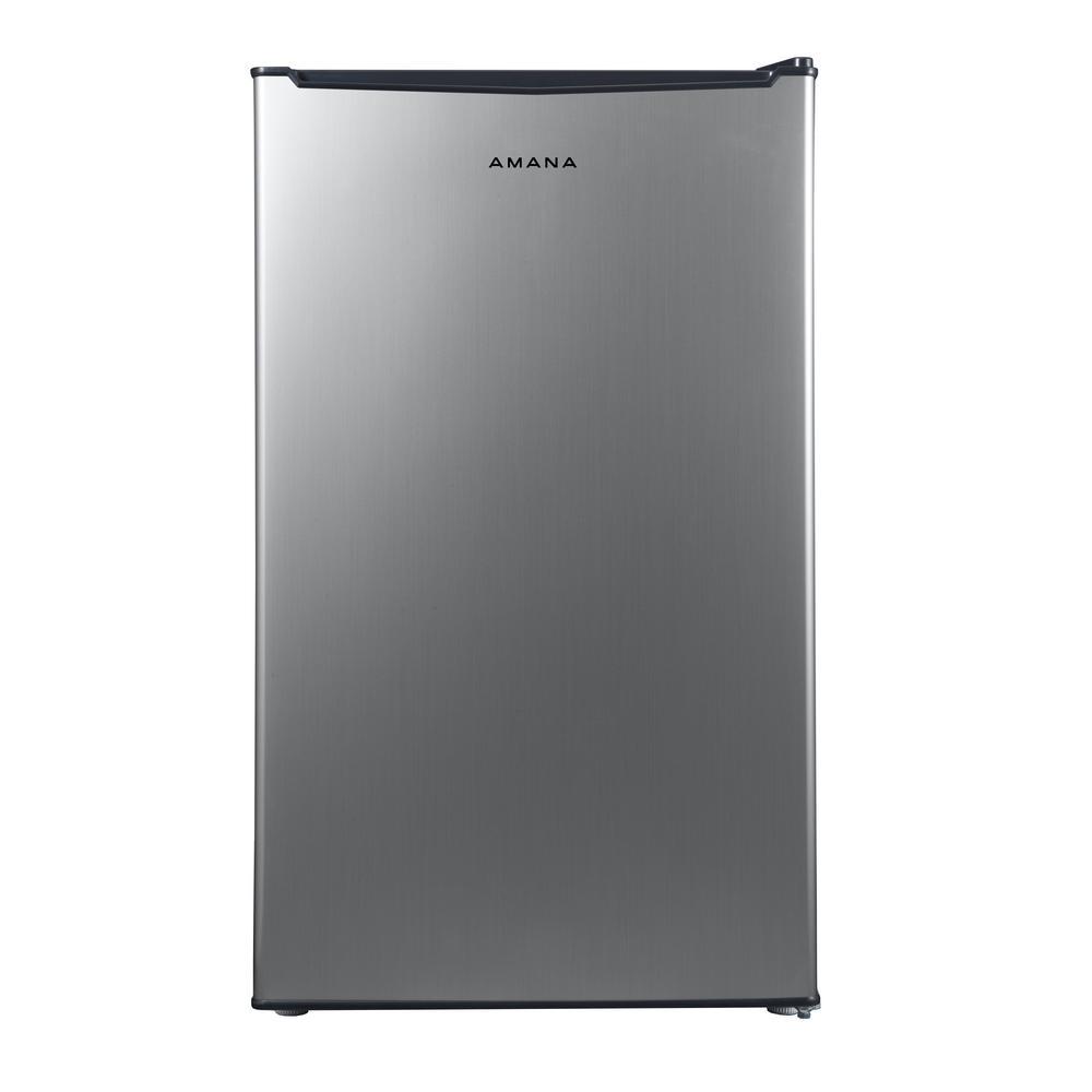 3.5 cu. ft. Mini Refrigerator Single Door Only in Stainless Steel Look