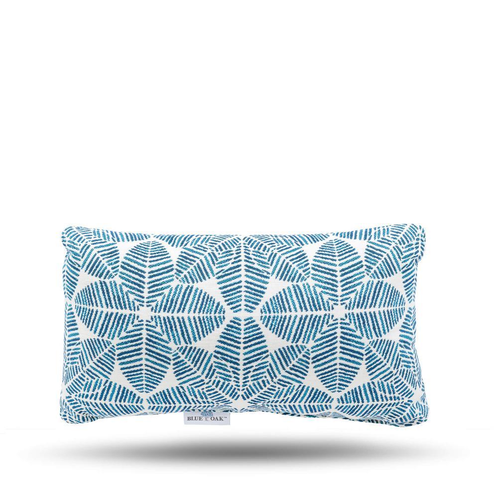 Outdura Palmetto Azure Rectangular Lumbar Outdoor Throw Pillow (2-Pack)