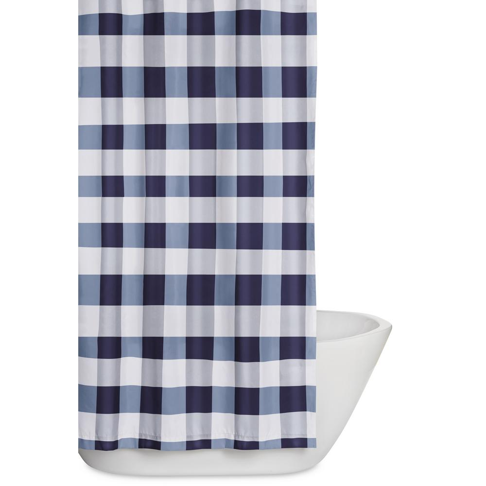 Truly Soft Everyday Buffalo Plaid 72 In. Navy And White Shower Curtain
