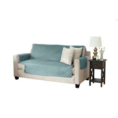 Kaylee Collection Blue Silver Reversible Quilted Furniture Sofa Protector