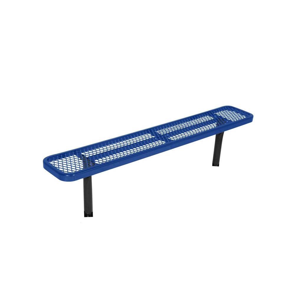 In Ground 8 Ft Blue Diamond Commercial Park Bench Without Back Lc7882 Blue The Home Depot