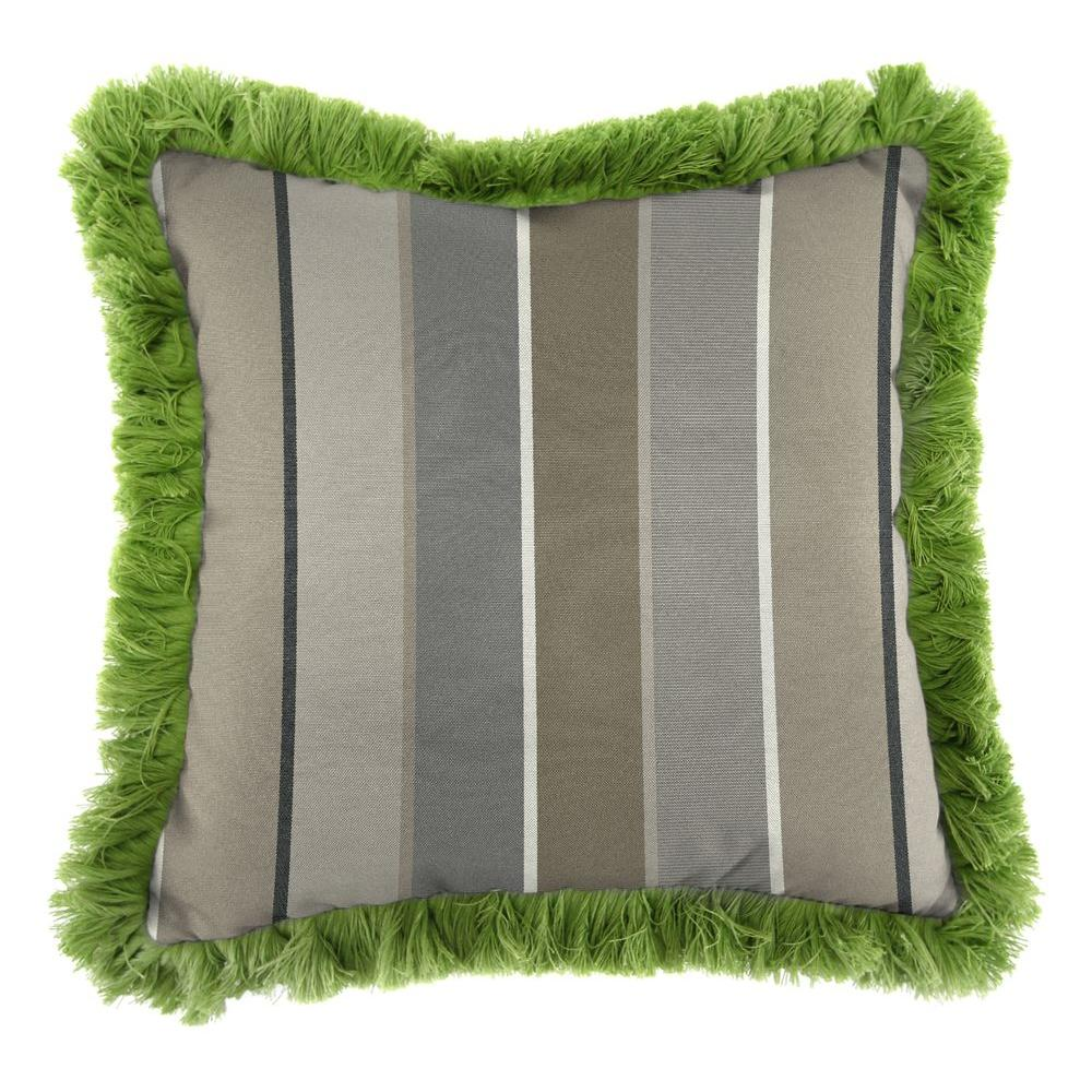 Sunbrella Milano Charcoal Square Outdoor Throw Pillow with Gingko Fringe