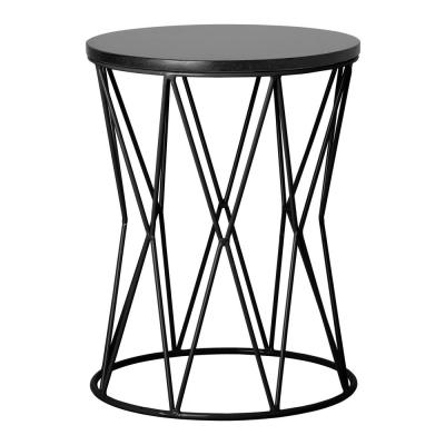 Okedo Black Metal Outdoor Side Table with a Black Granite Top