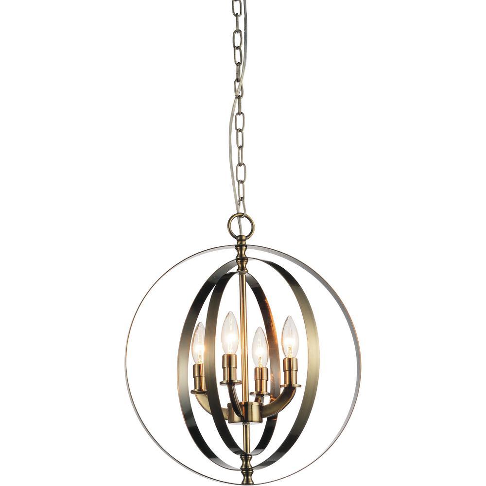 CWI Lighting Delroy 4-Light Antique Brass Chandelier