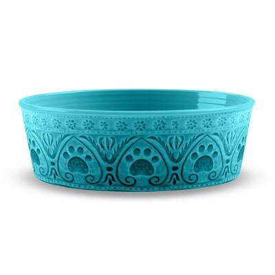 Medallion Paw Print Small Pet Bowl in Teal