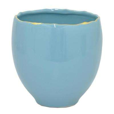 Blue with Gold Ceramic Planter