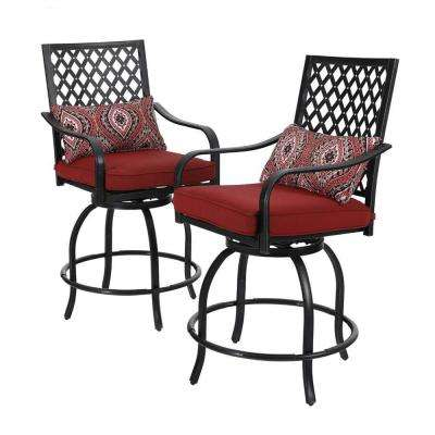 Swivel Metal Balcony Height Outdoor Bar Stool with Red Cushion (2-Pack)