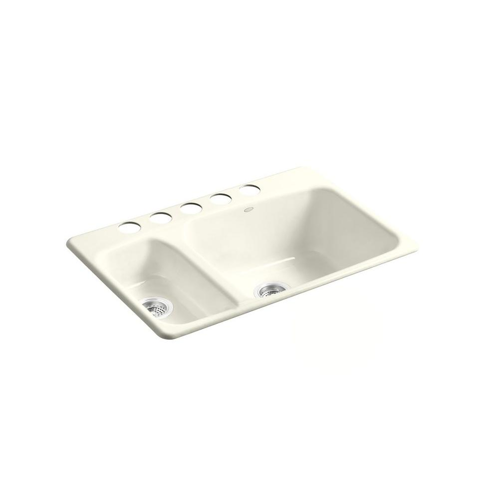 KOHLER Lakefield Undercounter Cast Iron 33x22x10.25 5-Hole Double Bowl Kitchen Sink in Biscuit