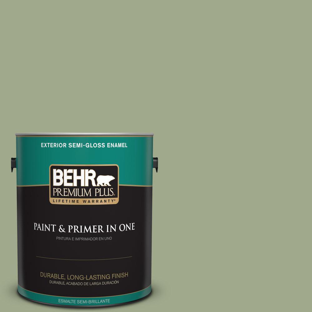 BEHR Premium Plus 1-gal. #PMD-36 Mountain Sage Semi-Gloss Enamel Exterior Paint