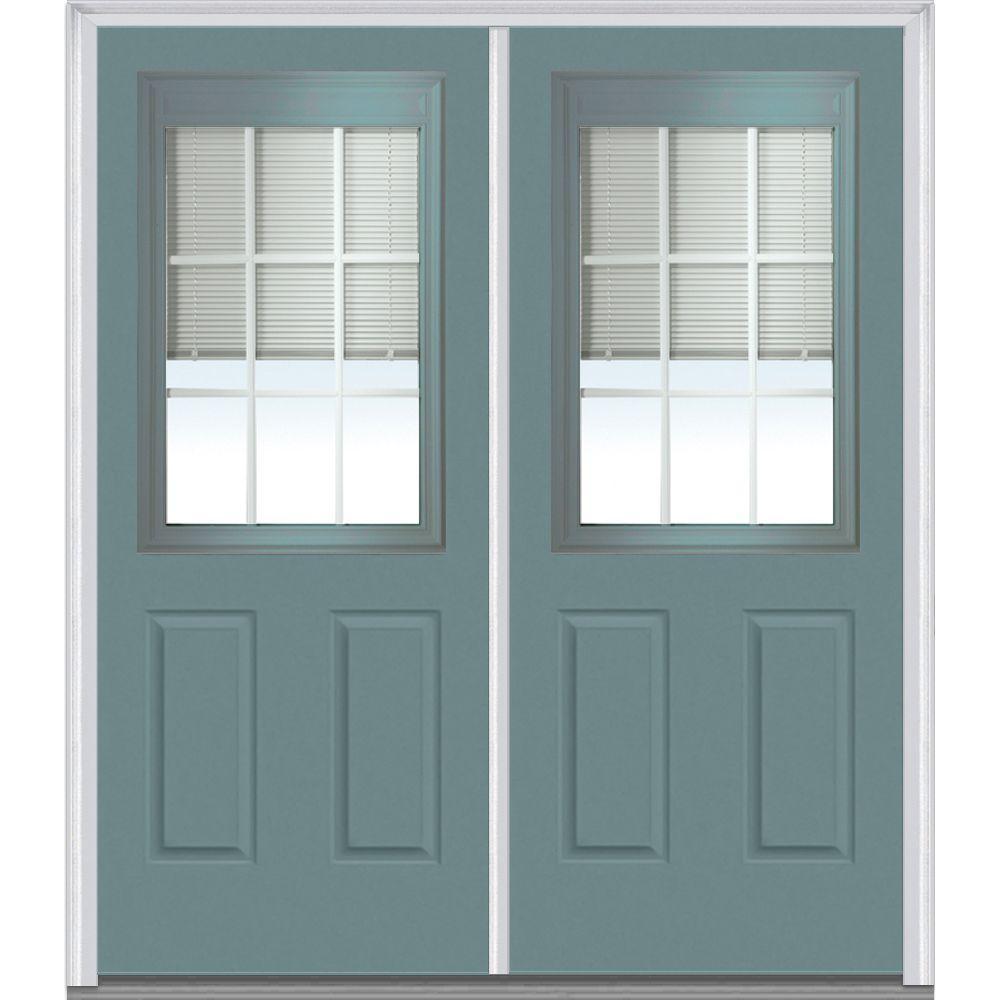 Mmi door 72 in x 80 in internal blinds and grilles right for Prehung entry door with storm door