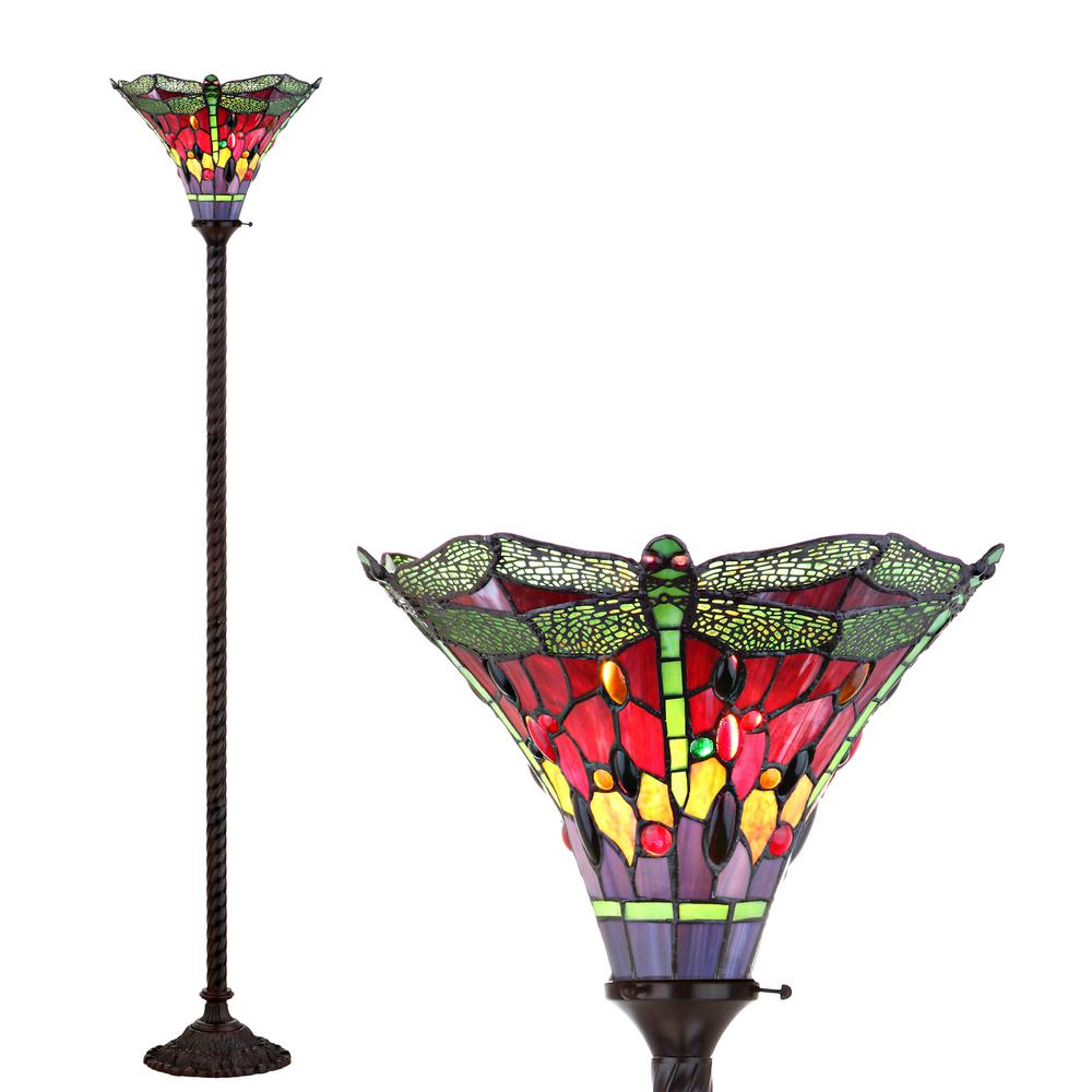 JONATHAN Y Dragonfly Tiffany-Style 71 in. Bronze/Green Torchiere Floor Lamp