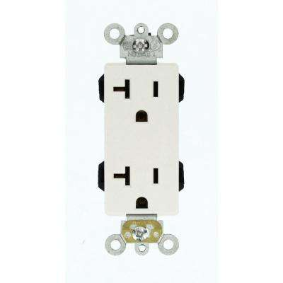Decora Plus 20 Amp Lev-Lok Modular Wiring Device Commercial Grade Self Grounding Duplex Outlet, White