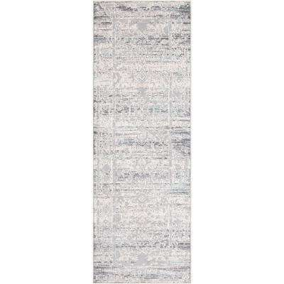 Sabri Silver 2 ft. 7 in. x 7 ft. 6 in. Distressed Runner Rug