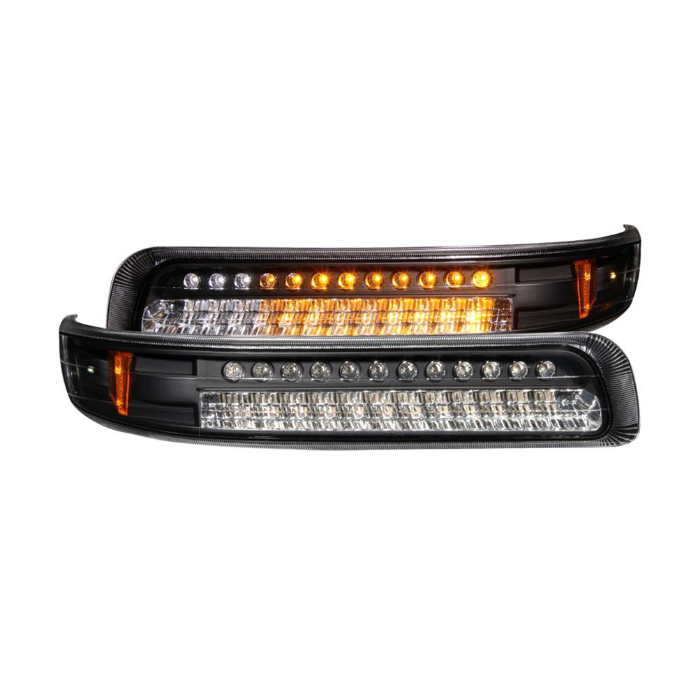 1999 2002 Chevrolet Silverado 1500 Led Parking Lights Black W Amber Reflector