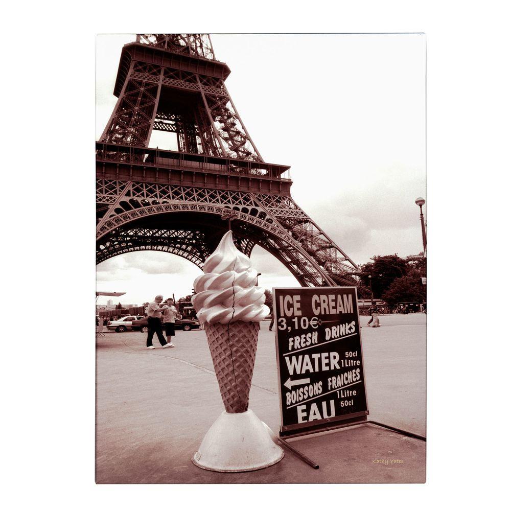 Trademark Fine Art 32 in. x 22 in. Eiffel Tower with Ice Cream Cone 2 Canvas Art