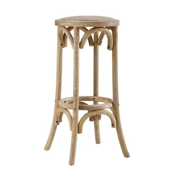 Bradford 30 in. Rattan Seat Natural Wood Backless Bar Stool