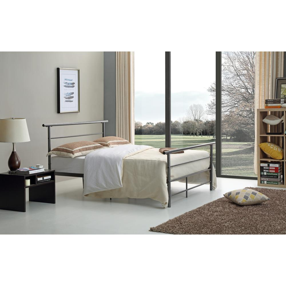 Hodedah Black and Silver Twin Bed Frame-HI829 T Black-Silver - The ...