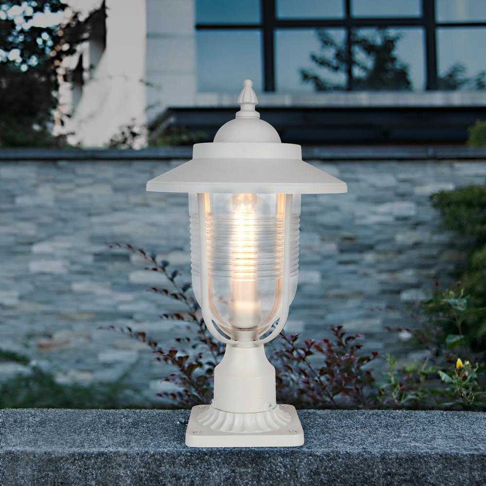 Lutec Coastal Old Saybrook 1 Light Outdoor White Post Light 7140403331 The Home Depot