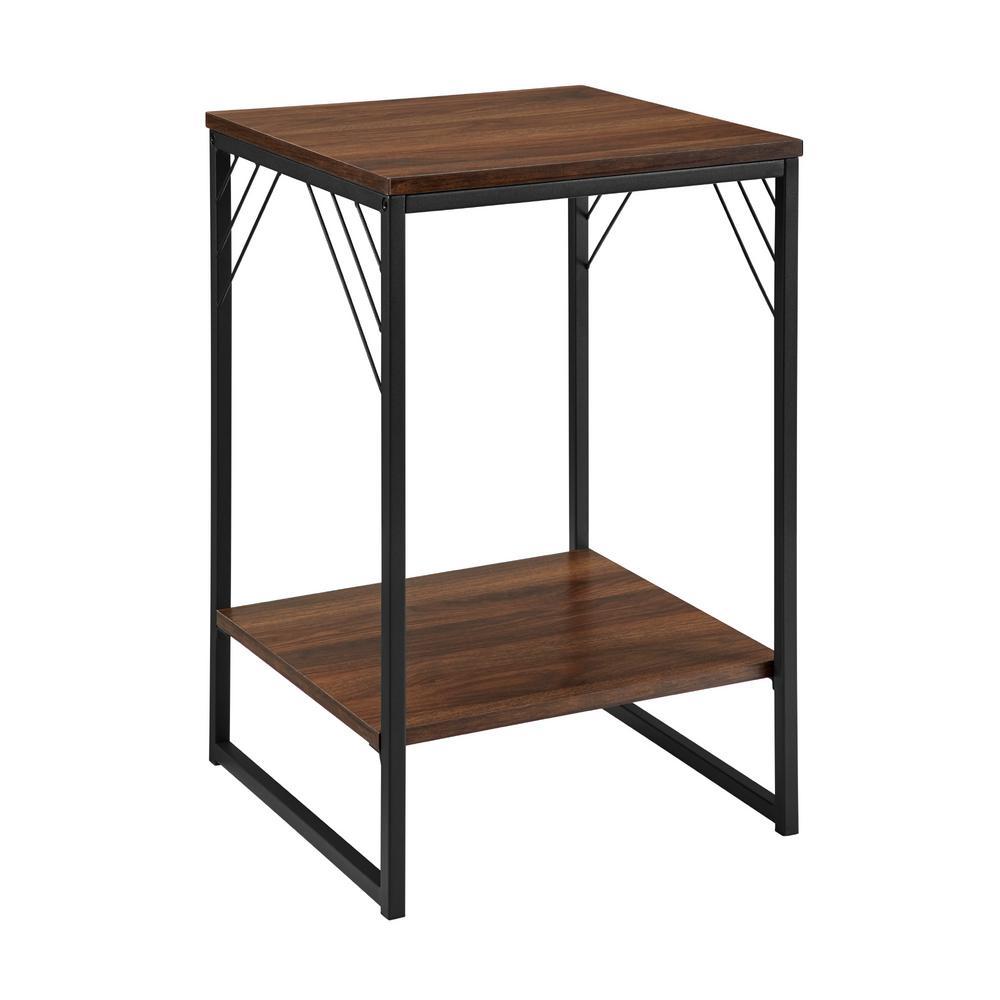 16 in. Dark Walnut Industrial Metal Accent Side Table