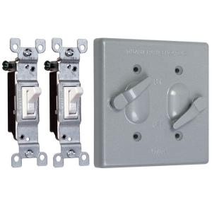 Taymac 2 Gang Weatherproof 2 Toggle Switch Cover Combo