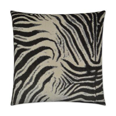 Zebrana Charcoal Solid Down 24 in. x 24 in. Throw Pillow