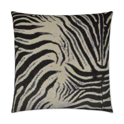 Zebrana Charcoal Feather Down 24 in. x 24 in. Decorative Throw Pillow