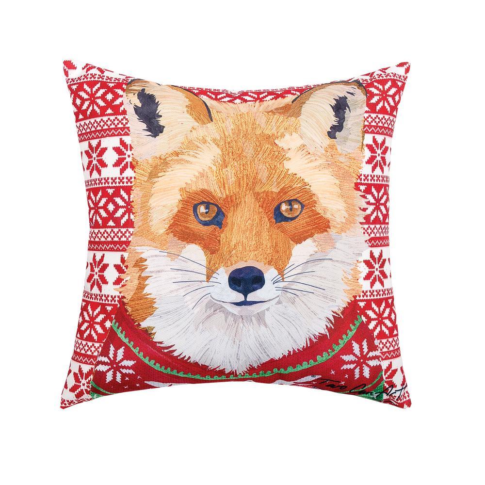 Red Ugly Sweater Fox Indoor/Outdoor 18 in. x 18 in. Standard Throw Pillow