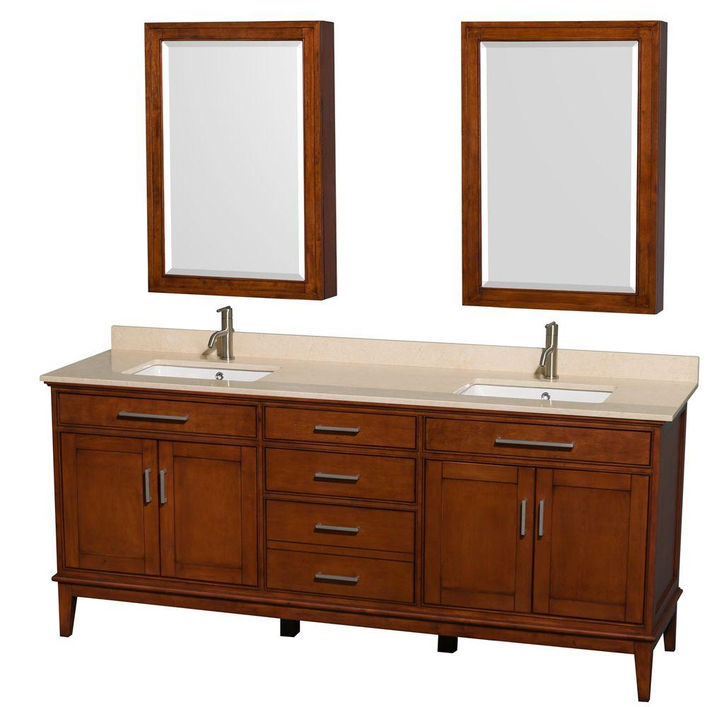 Wyndham Collection Hatton 80 In Vanity Light Chestnut With Marble Top Ivory
