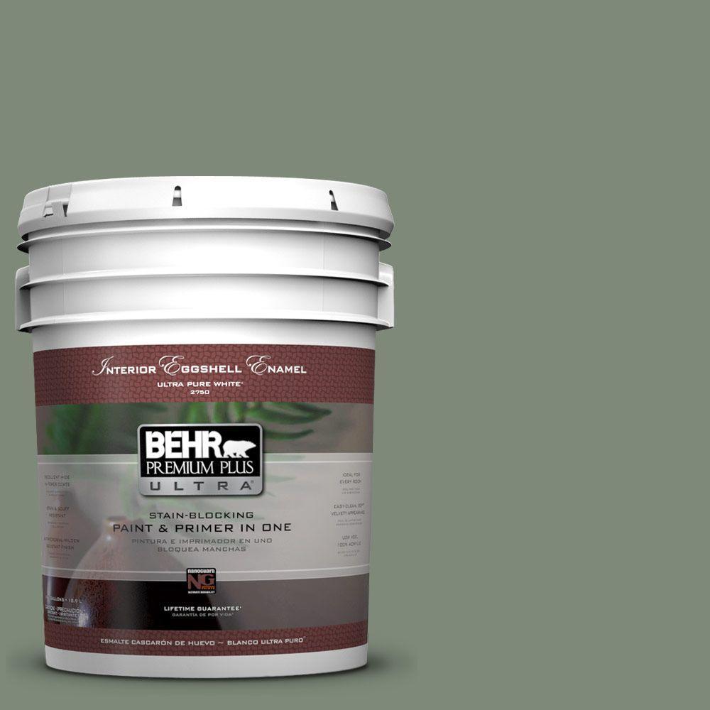 BEHR Premium Plus Ultra 5-gal. #450F-5 Amazon Moss Eggshell Enamel Interior Paint