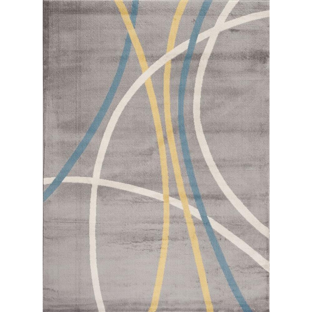 World Rug Gallery Contemporary Modern Wavy Circles Gray 3