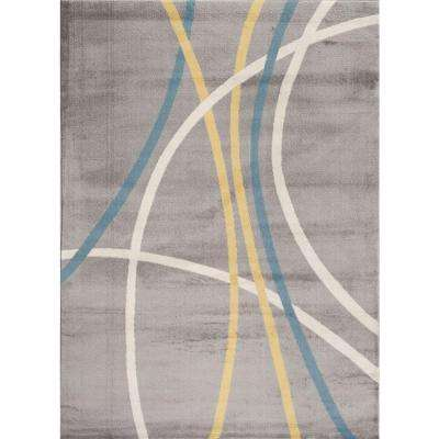 Abstract Contemporary Modern Stripes Gray 2 ft. x 3 ft. Indoor Area Rug