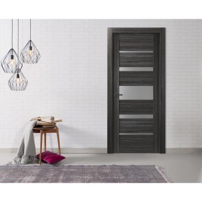30 in. x 80 in. Kina Gray Oak Finished Frosted Glass 5 Lite Solid Core Wood Composite Interior Door Slab No Bore
