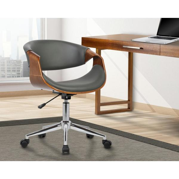 Armen Living Geneva 33 In Gray Faux Leather And Chrome Finish Mid Century Office Chair Lcgeofchgrey The Home Depot