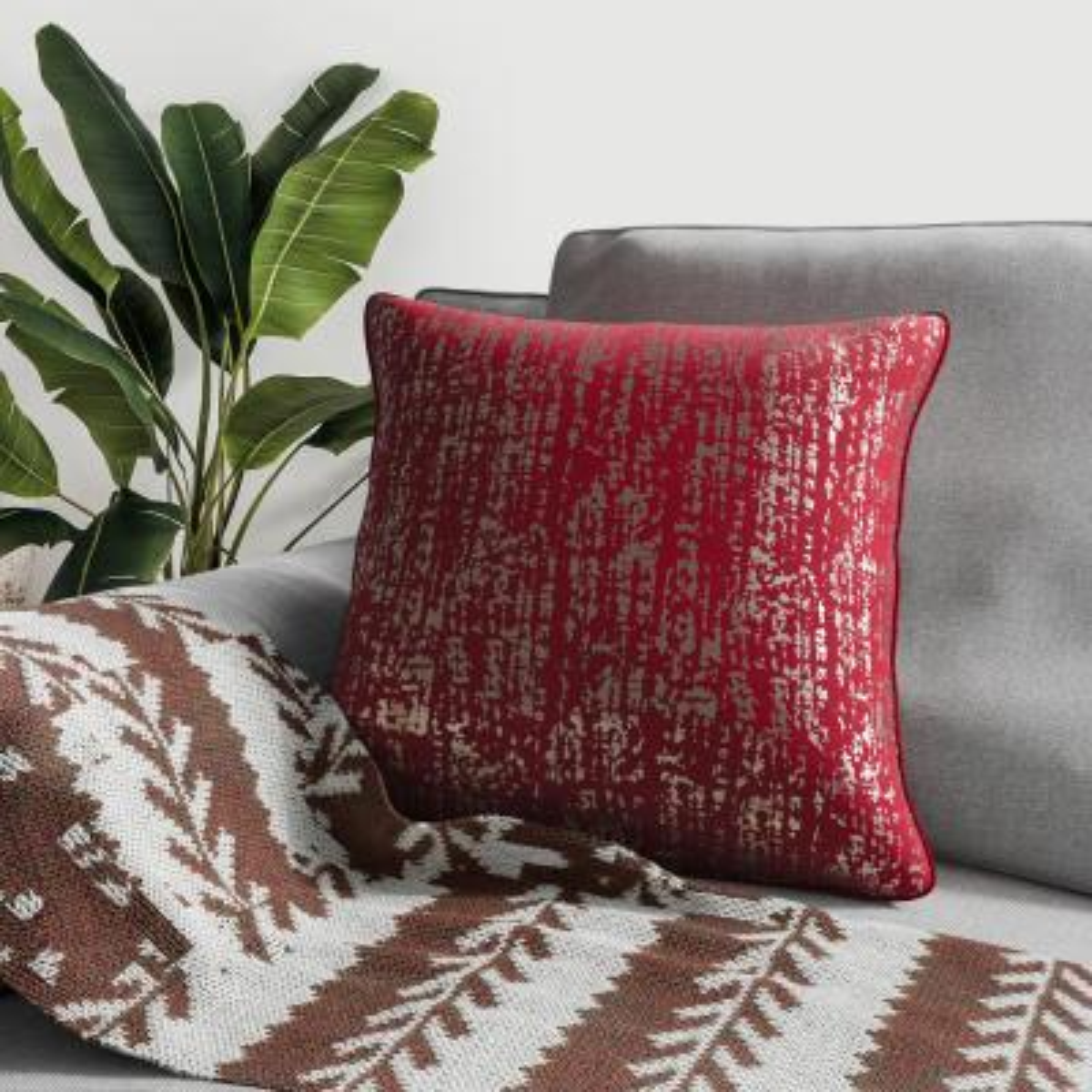 Metallic Red Decorative Pillow (Set of 2)