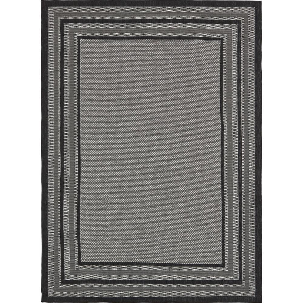 Unique Loom Outdoor Multi Border Gray 8' 0 x 11' 4 Area Rug