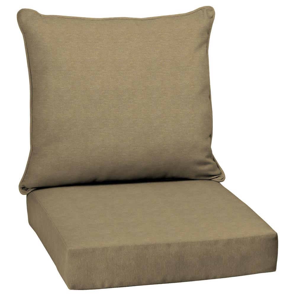 outdoor dining chair cushions. Arden Selections Tan Hamilton Texture 2-Piece Deep Seating Outdoor Dining Chair Cushion Set Cushions The Home Depot
