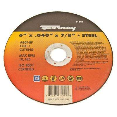 6 in. x 0.040 in. x 7/8 in. Metal Type 1 Cut-Off Wheel