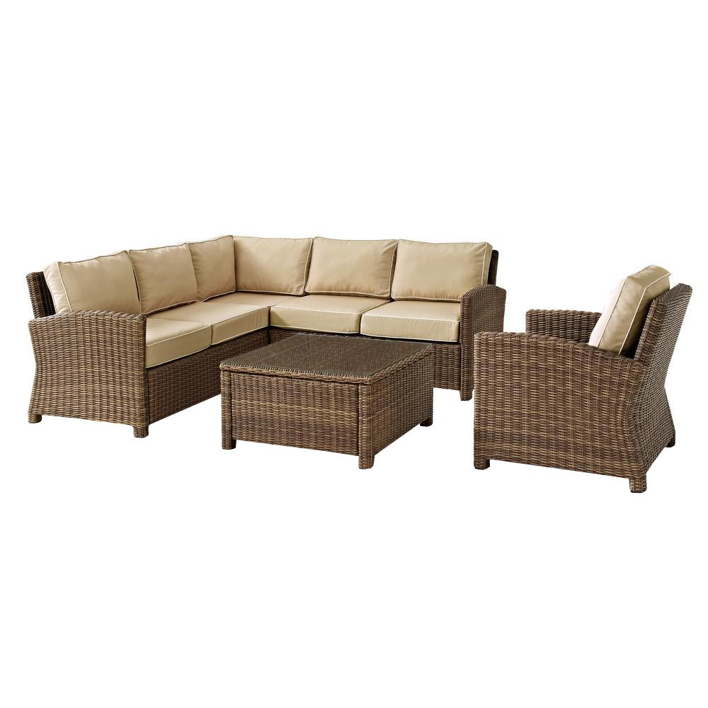 Crosley Bradenton 5-Piece Wicker Outdoor Sectional Set with Sand Cushions