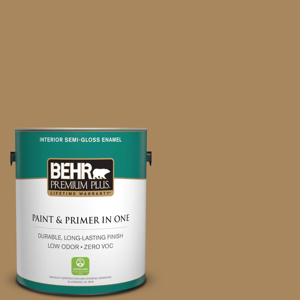 BEHR Premium Plus 1-gal. #N290-6 Trinket Gold Semi-Gloss Enamel Interior Paint