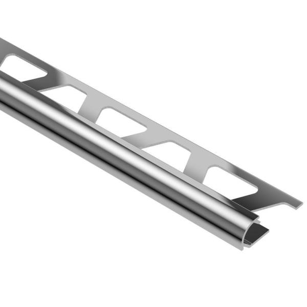Rondec Polished Chrome Anodized Aluminum 5/16 in. x 8 ft. 2-1/2 in. Metal Bullnose Tile Edging Trim