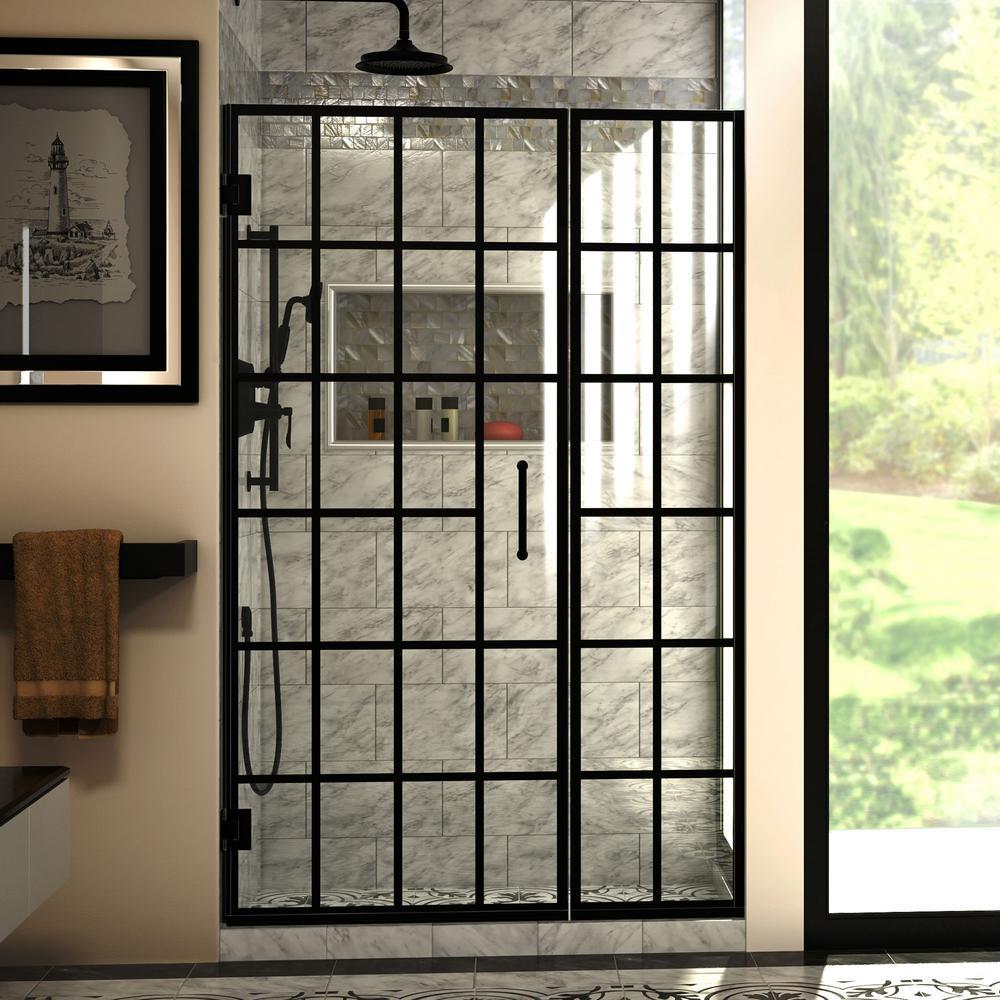 Window Pane Shower Door.Dreamline Unidoor Toulon 46 In To 46 1 2 In W X 72 In H Frameless Hinged Shower Door In Satin Black