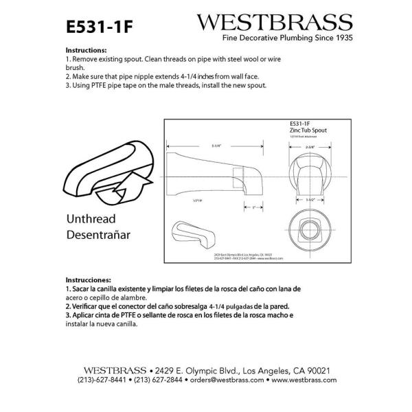 Westbrass 5-1/4 in. Front Diverter Tub Spout with Front IPS Connection in  Chrome-E531D-1F - The Home Depot   Wye Delta Wiring Diagram Tubs Over Head      The Home Depot