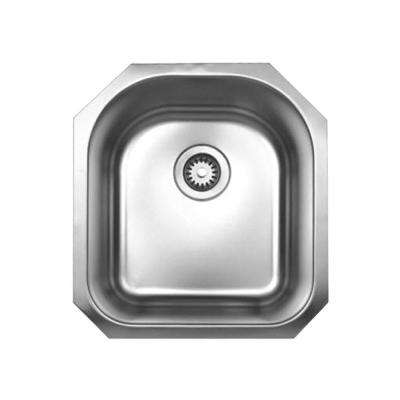 Noah's Collection Undermount Brushed Stainless Steel 20 in. 0-Hole Single Bowl Prep Kitchen Sink