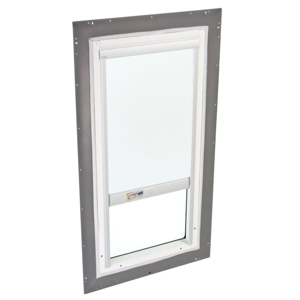 VELUX 22-1/2 in. x 46-1/2 in. Fixed Pan-Flashed Skylight with Tempered LowE3 Glass and White Solar-Powered Blackout Blind
