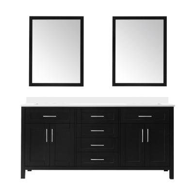 Tahoe 72 in. W Double Sink Vanity in Espresso with Cultured Marble Vanity Top in White with White Basins and Mirrors