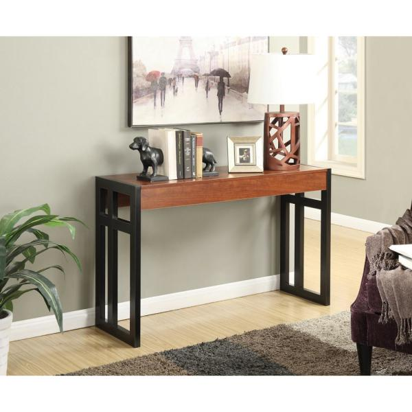 Convenience Concepts Monterey 50 In Black Cherry Standard Rectangle Wood Console Table R4 0175 The Home Depot