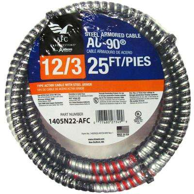 12/3 x 25 ft. BX/AC-90 Armored Electrical Cable