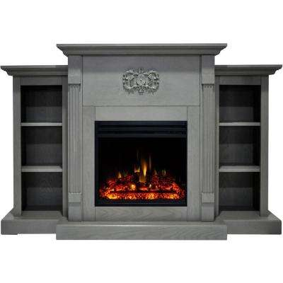 Sanoma 72 in. Electric Fireplace Heater in Gray with Mantel, Bookshelves, Enhanced Log Display and Remote