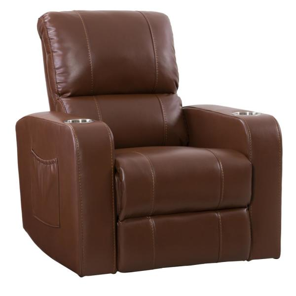 CorLiving Tucson Home Theater Single Black Leather Gel Power